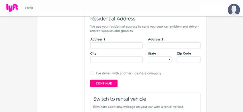 Lyft application process Sign-up Bonus Step 4(driver info)