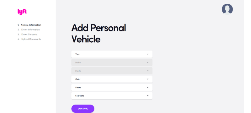 Lyft Application Process Sign up bonus Vehicle information