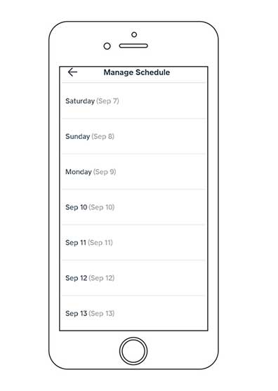 how to manage schedule caviar courier App
