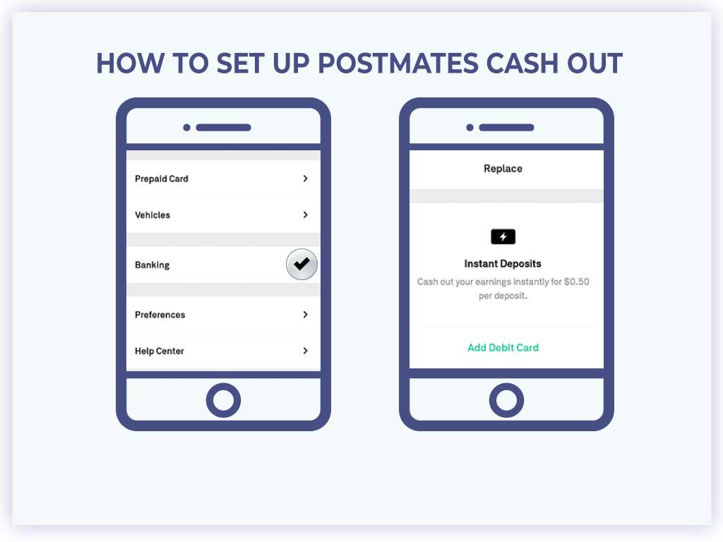 how to set up postmates cash out
