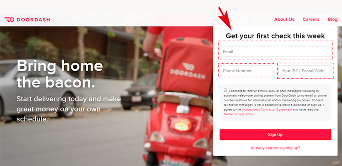 Doordash Best Sign-up Bonus Step 1